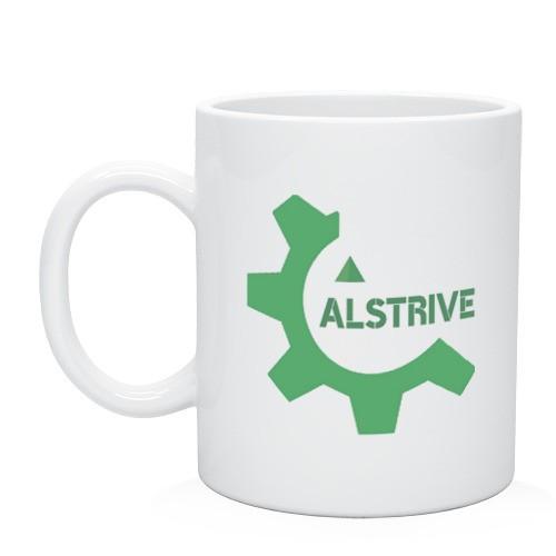 Белая кружка на заказ с логотипом ALStrive