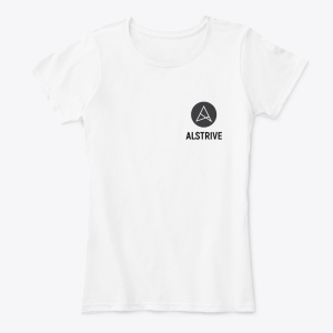 Белая женская футболка с логотипом ALSTRIVE